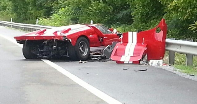 Wreckage of a Ford GT40 that crashed in Tennessee - Image courtesy WCYB