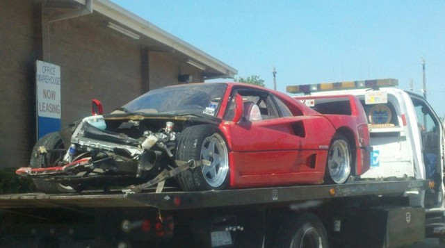 Wreckage of Ferrari F40 that crashed in Houston, Texas