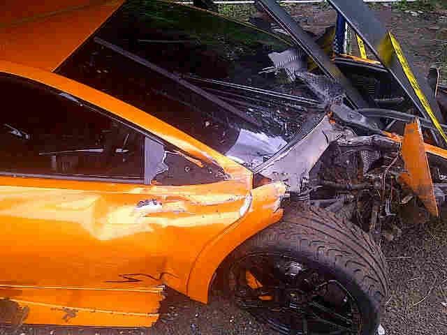 Wreckage of Lamborghini Murcielago LP 670-4 SV that crashed in Indonesia