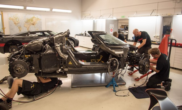 Wrecked Koenigsegg One:1 being analyzed at factory in Ängelholm, Sweden