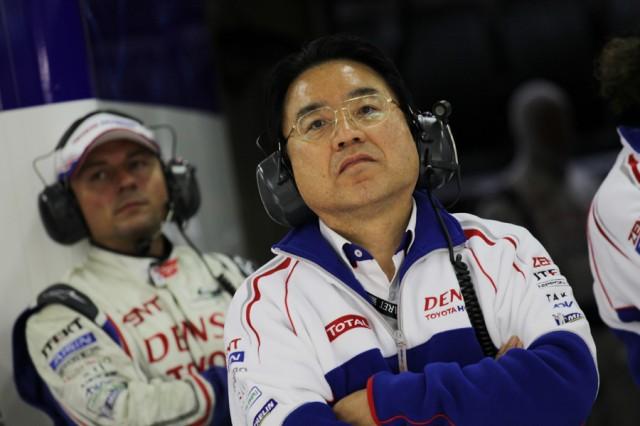 Yoshiaka Kinoshita watches the TS030 hybrid at Le Mans - Toyota Racing photo