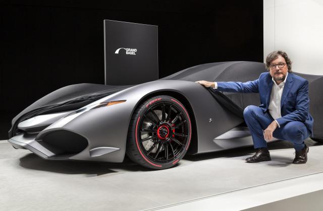 Andrea Zagato with the Zagato IsoRivolta Vision Gran Turismo concept, 2017 Grand Basel