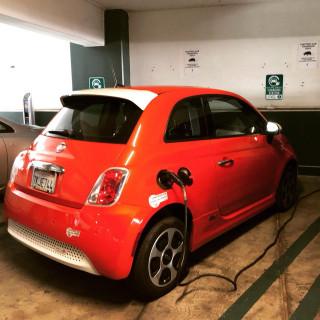 2015 Fiat 500e electric car recharging [photo: Chris Baccus