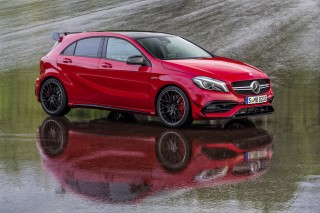AMG A45 details surface: 8-speed dual-clutch, drift mode, 400-plus horsepower