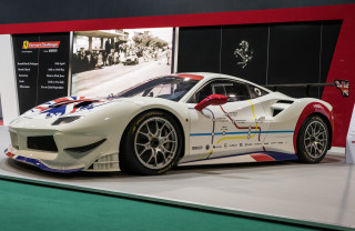 2018 Ferrari 488 GTE race car with livery depicting all stages of Club Competizioni GT