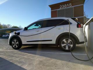2018 Kia Niro Plug-In Hybrid charging at Mayo Newhall Hospital, Santa Clarita, California, Dec 2017