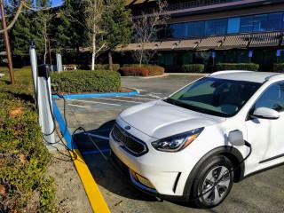 2018 Kia Niro Plug-In Hybrid charging at office park, Santa Cruz, California, Dec 2017