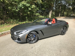 2020 BMW Z4 M40i in Frozen Grey Metallic II paint and Magma Red Vernasca interior