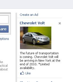 Ad for 2011 Chevrolet Volt running on Facebook, July 1, 2010