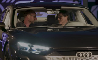 Robert Downey Jr. and Audi design chief Mark Lichte in e-tron GT concept