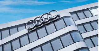 Audi brand logo on München office