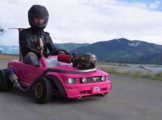 Barbie car with a dirt bike engine