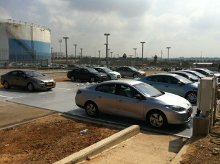 Better Place new car parking lot, showing multiple new Renault Fluence ZE electric cars, Israel