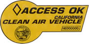 CA 'Access OK' Clean Air Vehicle carpool lane sticker