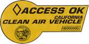 CA 'Access OK' Clean Air Vehicle carpool lane sticker
