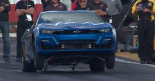 Chevy eCOPO Camaro runs 9s at the drag strip