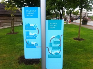 Electric-car charging information from BC Hydro, West Coast Green Highway, British Columbia, Canada
