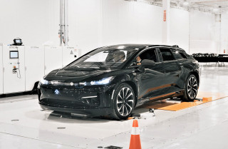 Faraday Future's first pre-production FF91 rolls off line at Californian plant