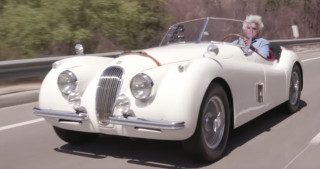 Jay Leno shows off his first collector car, a 1954 Jaguar XK120