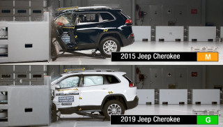 2015 and 2019 Jeep Cherokee crash test, via IIHS