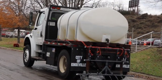 Lidar-equipped de-icer truck in Knoxville, Tennessee
