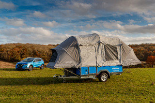 Nissan x Opus camper with reused Leaf batteries in Britain with Nissan Qashqai