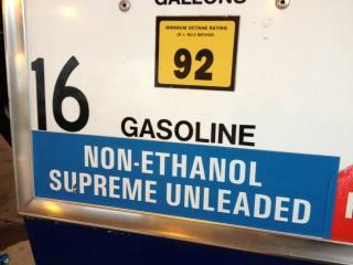 Non-ethanol gasoline pump