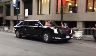 "President Donald Trump in his new Cadillac ""Beast"" armored limo"