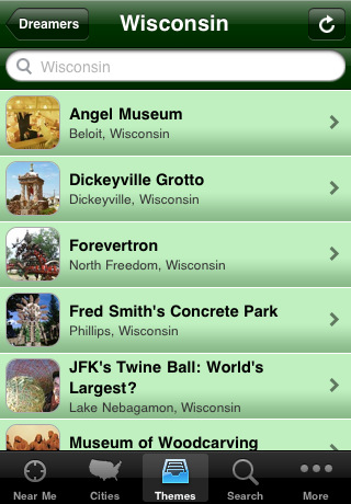 Roadside America app screen shots