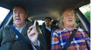 """Scene from """"The Grand Tour"""" featuring Jeremy Clarkson, Richard Hammond and James May"""