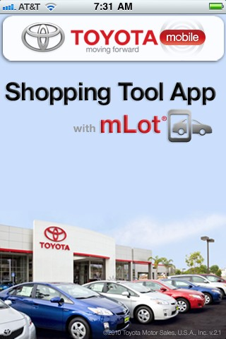 Screencap of Toyota's Shopping Tool App