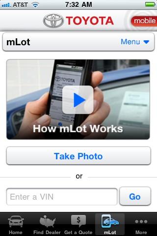 Screencap of Toyota's Shopping Tool App