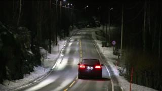 Self-dimming streetlights in Hole, Norway