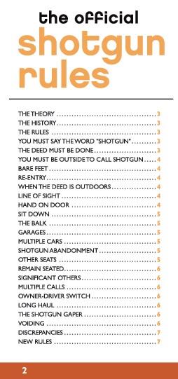 Shotgun Rules Pocket Reference Guide