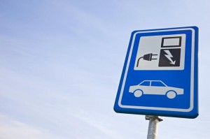 Sign indicating public electric-vehicle charging station