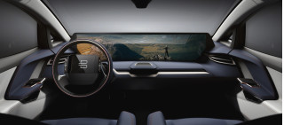 Teaser image of Byton electric SUV dash display and interior, to be launched at CES 2018, Las Vegas