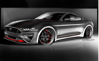 Teaser sketch for 2019 CGS Motorsports Ford Mustang GT debuting at 2018 SEMA show