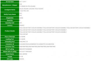 Tesla Model 3 - import record for battery cooler