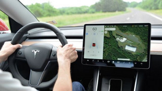 Tesla Model 3 dashboard in Autopilot testing with IIHS [CREDIT: IIHS]