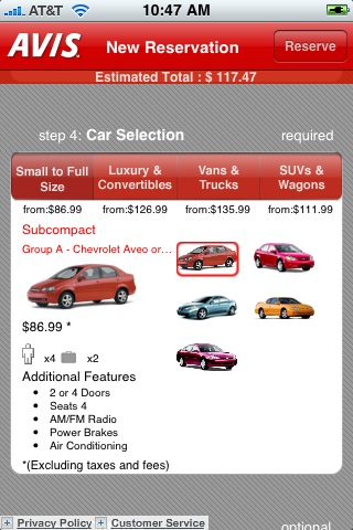 The Avis iPhone app