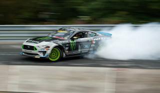 Vaughn Gittin Jr. drifts a 900-horsepower Mustang around the 'Ring
